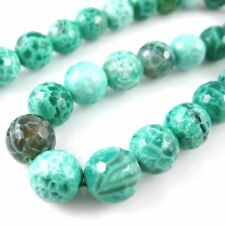 Green Crackle Agate Beads - Faceted Round Beads 10mm (Sold Per Strand)