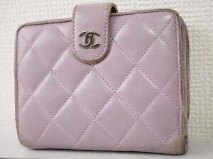 Chanel Matelasse bi-fold wallet purse light purple Authentic woman #4627P