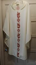 GASPARD & SONS LITURGICAL ART CHASUBLE CLERGY IVORY STENCIL DESIGN LIGHTWEIGHT