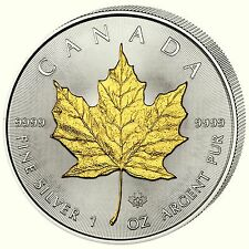 Maple Leaf 2014 Kanada 5 Dollar 1 Unze Silber vergoldet / gilded + Zertifikat