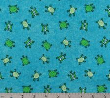 "Quilt Cotton Fabric Turtles Turquoise Green White Classic Cottons 51""L x 44""W"
