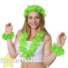 HAWAIIAN LEI 4 PIECE SET FLOWER NECKLACE FANCY DRESS HAWAII TROPICAL LUAU PARTY