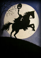 Halloween 5x7 art print THE HEADLESS HORSEMAN moon JOL horse Sleepy Hollow DC