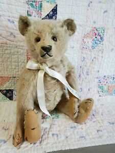 "Vintage Early 1920's Steiff Teddy Bear 14"" Wearing Ribbon signed by H O Steiff"