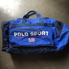 Men's Vintage 90's Polo Sport Ralph Lauren Flag Medium Navy Blue Duffle Gym Bag