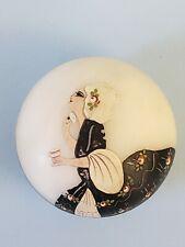 French Antique Art Deco Carved Alabaster Powder Jar handpainted Elegant Lady