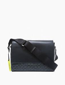 Calvin Klein Refined Monogram Logo City Messenger Bag, Black