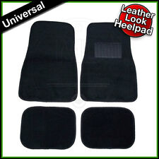 Car Carpet Floor Mats BLACK Set of 4 with LEATHER Look Heelpad