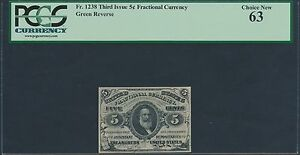 FR1238 5¢ 3RD ISSUE FRACTIONAL CURRENCY GREEN REVERSE PCGS 63 BR3339