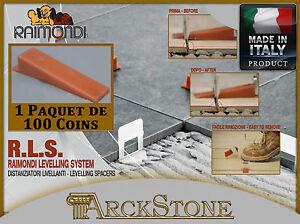 ARCKSTONE Paquet de 100 cales de sol et mur RLS Raimondi système de nivellement