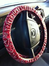 Red Bandana Fabric Steering Wheel Cover