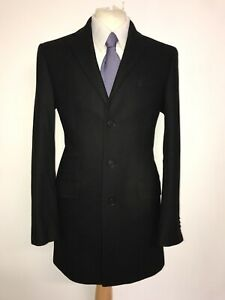 TED BAKER -Mens Long BLACK WOOL COAT - UK 38 Reg - WORN ONCE -GORGEOUS WARM COAT