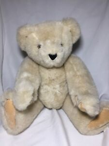 "The Vermont Teddy Bear  Company Jointed 17"" Vanilla Tan Light Brown Plush Bear"