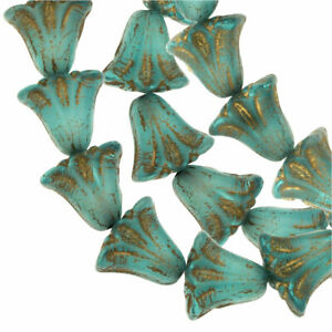 Czech Glass Beads, Lily Flower 9x10mm, Aqua/White/Gold Wash, by Raven's Journey