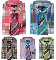 New Men's Check / Plaids Dress Shirt w/ Matching Tie & Hanky,Spread Collar MS627