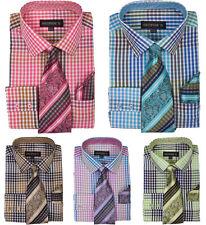New Men's Check / Plaids Dress Shirt w/ Matching Tie & Hanky,Spread Collar MS627
