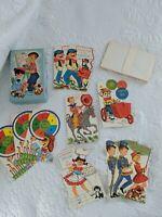 Vintage 1950s Sunshine Color Cards Children's Birthday Lot of 11, 9 Envelopes