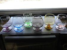 Vintage Nat'l Pottery Co. Set Of Six (6) Etched Brandy Inhalers Snifters~EVC~