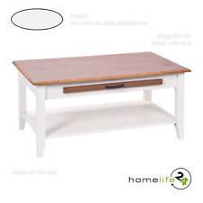 Table basse salon salle a manger rectangulaire bois massif blanc tiroir 100x6...