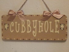 Lovely Decorative Handcrafted Wooden sign CUBBYHOLE (Cream & Brown)