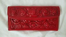 Tooled Mexican Red leather ladies wallet credit card wallet, clutch purse Floral