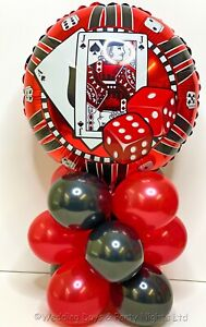 Casino Cards Dice Foil Balloon Display Party Table Decorations No Helium Req