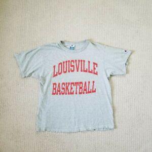 Louisville Cardinals Basketball Champion Women's T-shirt Gray & Red Size Large