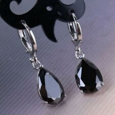Gorgeous 925 Silver Drop Earrings for Women Black Sapphire Jewelry A Pair/set