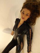 Jumpsuit New Ladies Warrior Woman  Black Wet Look Biker Wild Tie Up Catsuit 8 10