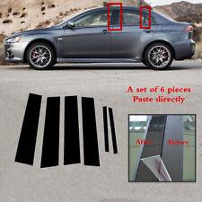 6pc Set Pillar Posts Door Trim Black Cover Fit For Mitsubishi Lancer 2008-2017 (Fits: Mitsubishi Lancer)