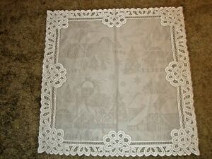 Lace TableTopper Ivory Christmas  Battenburg design  30 x 30