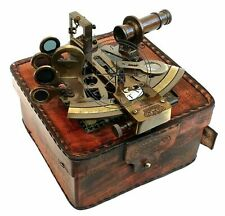 Rare New Brass Sextant Nautical Brass Sextant Working Marine Vintage/Leather Box