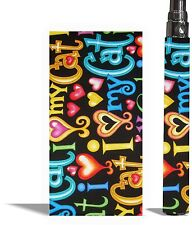 Battery Sticker Skins Fits eGo Type/Other Vape Mod Vinyl Vapor Wraps -CAT LOVE