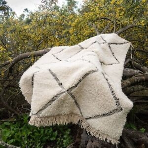 Rug Moroccan Berber Handmade Beni Ourain Wool Area Carpet Area Geometric Tribal