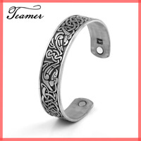 Viking Bracelet Norse Cuff Celtic Bangle Antique THERAPY Magnetic Healing Silver