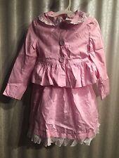 Maggie & Zoe 2 Piece Dress Jacket Set Pink White Dots Ruffles Bows Dress  4