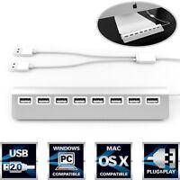 "USB 2.0 Hub Mac Windows 8 Port Aluminum PC iMac Computer 30"" Cable Accessories"