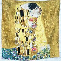 Silk scarf with Klimt's The Kiss painting 21 inches square by Streissnig, Vienna