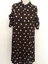 NEW WOMENS BLACK POLKA DOT COLD SHOULDER SHIRT DRESS SIZE UK 8