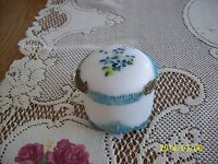 Victorian Antique Embossed Molded Aqua Blue Satin Glass Covered Trinket Box