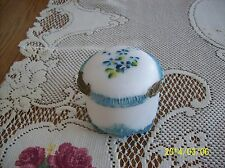 Victorian Antique Embossed Molded Aqua Blue Satin Glass Covered Trinket Box