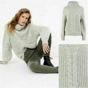 P BNWT M&S Per Una Cable Knit Roll Neck Relax Fit Jumper 8 10 12 14  Grey (ST76)