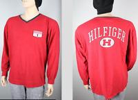 Tommy Hilfiger Hilfiger Division Long Sleeve V Neck Shirt, Red, VTG 90's Men's L