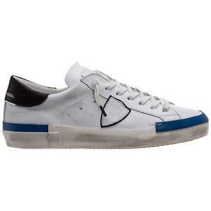 Philippe Model sneakers uomo prsx A11EPRLUVP10 bianco Blanc / Bleu logo pelle
