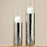 Windlicht Silber 48cm Teelicht-Halter Kerzenhalter Kerzenleuchter gehämmert Gisa