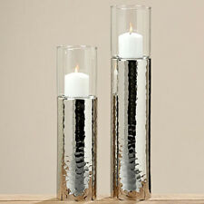 Lantern Silver 48cm Tea Light Holder Candle Holder Candlestick Hammered Gisa
