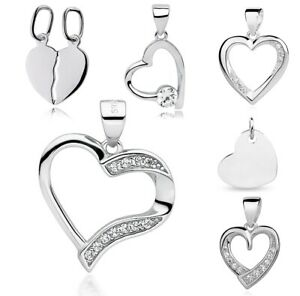 HEART 925 Sterling Silver Pendant  Chain Necklace Fine Jewellery Love Gift Box