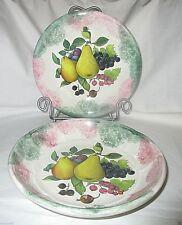 Ceramica Due Torri Made in Italy Hand Painted 2 piece Bowl & Plate Fruit Design