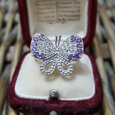 GEMPORIA STERLING SILVER RING, BUTTERFLY, AMETHYST & WHITE TOPAZ,SIZE N½