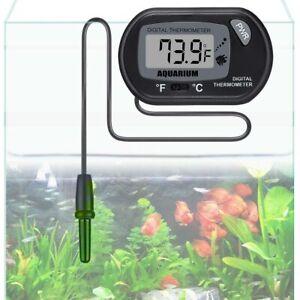 LCD Digital Aquarium Thermometer Water Tank Fish Vivarium Marine C & F UK Seller